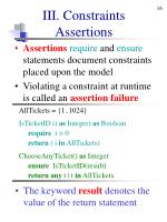 iii constraints assertions