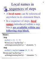 local names in sequences of steps