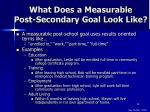 what does a measurable post secondary goal look like
