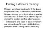 finding a device s memory