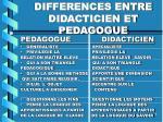 differences entre didacticien et pedagogue