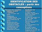 identification des obstacles partir des conceptions