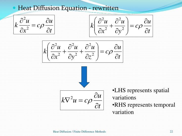 Heat Diffusion Equation - rewritten