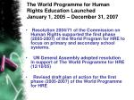 the world programme for human rights education launched january 1 2005 december 31 2007