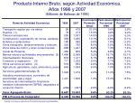 producto interno bruto seg n actividad econ mica a os 1996 y 2007 millones de balboas de 1996