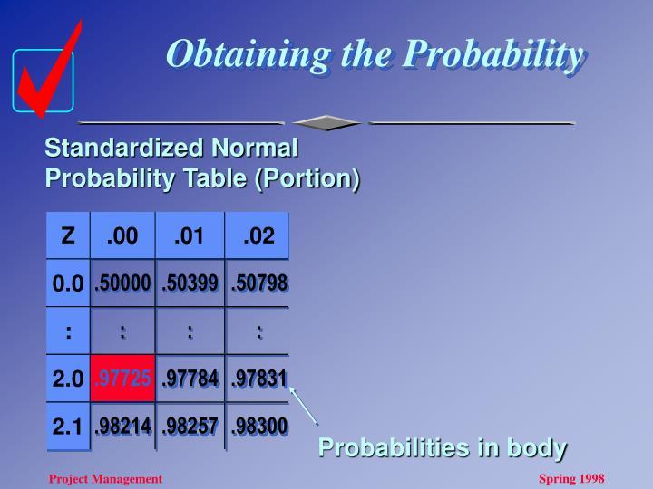 Obtaining the Probability