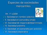 especies de sociedades mercantiles