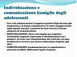 individuazione e comunicazione famiglie degli adolescenti