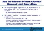 note the difference between arithmetic mean and least square mean