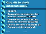 que dit le droit international
