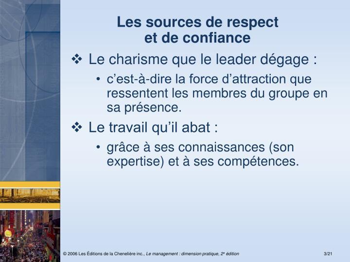 Les sources de respect et de confiance