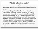 what is a teacher leader