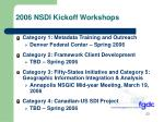 2006 nsdi kickoff workshops
