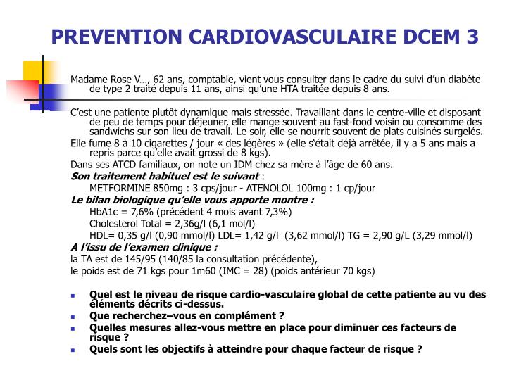 prevention cardiovasculaire dcem 3 n.