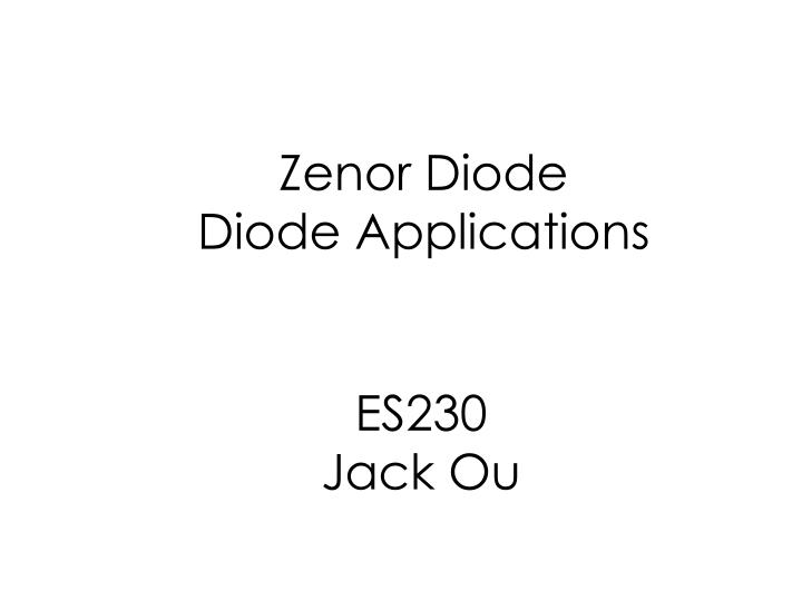 zenor diode diode applications n.