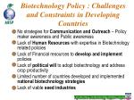 biotechnology policy challenges and constraints in developing countries