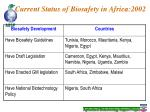 current status of biosafety in africa 2002