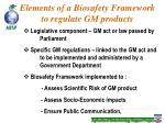 elements of a biosafety framework to regulate gm products