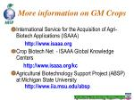 more information on gm crops