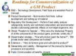 roadmap for commercialization of a gm product