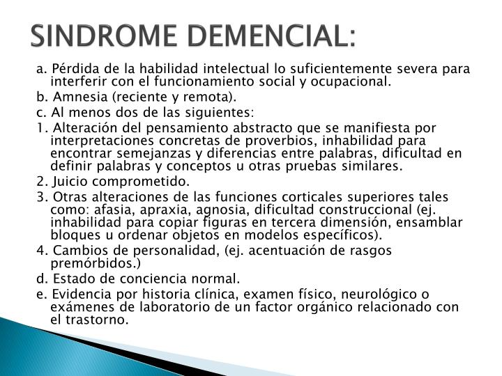 SINDROME DEMENCIAL: