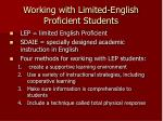 working with limited english proficient students