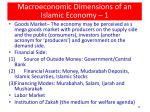 macroeconomic dimensions of an islamic economy 1