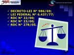 decreto lei n 986 69 lei federal n 6 437 77 rdc n 22 00 rdc n 23 00 rdc n 278 05