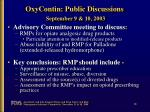 oxycontin public discussions september 9 10 2003