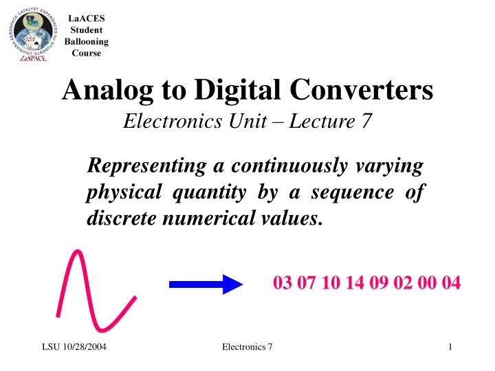 analog to digital converters electronics unit lecture 7 n.