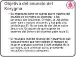 objetivo del anuncio del kerygma