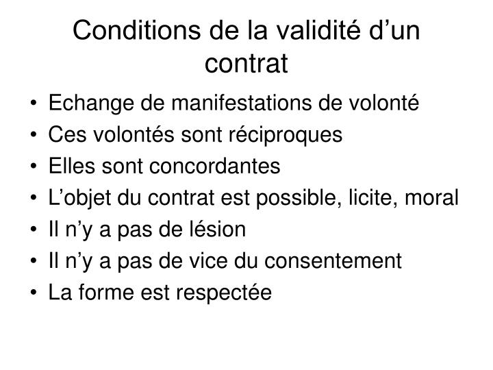 Conditions de la validité d'un contrat