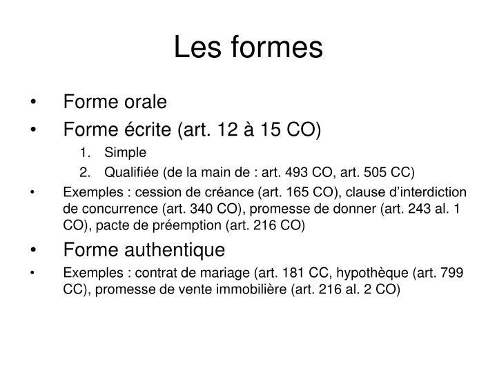 Les formes
