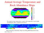 annual average temperature and rock abundance maps