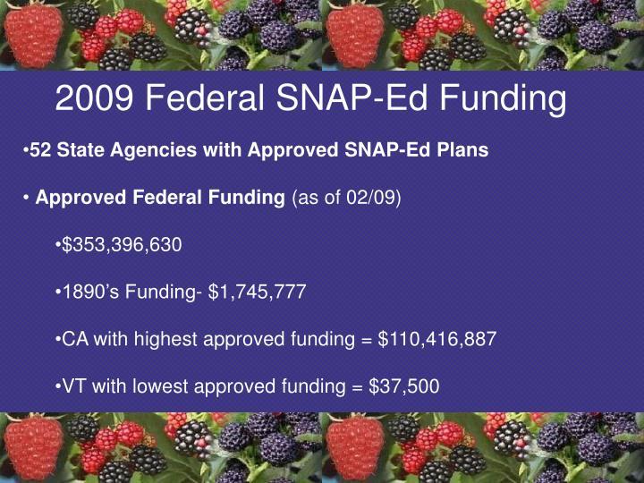 2009 Federal SNAP-Ed Funding
