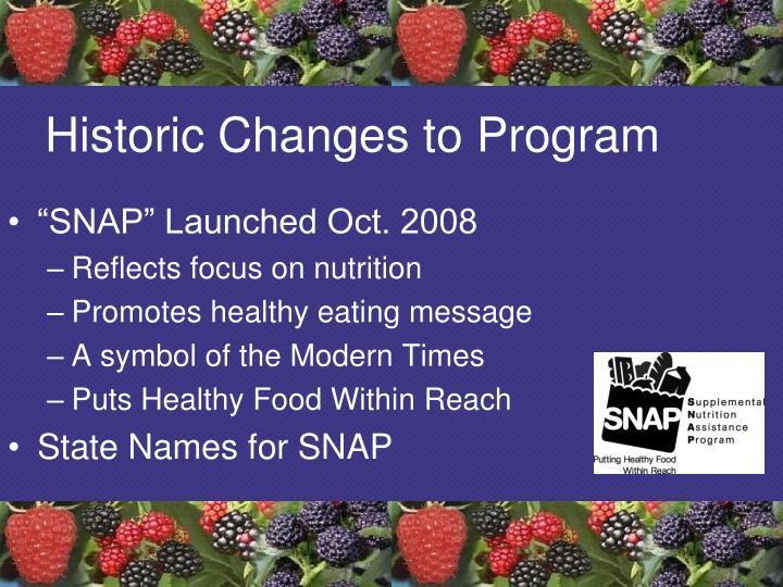 Historic Changes to Program