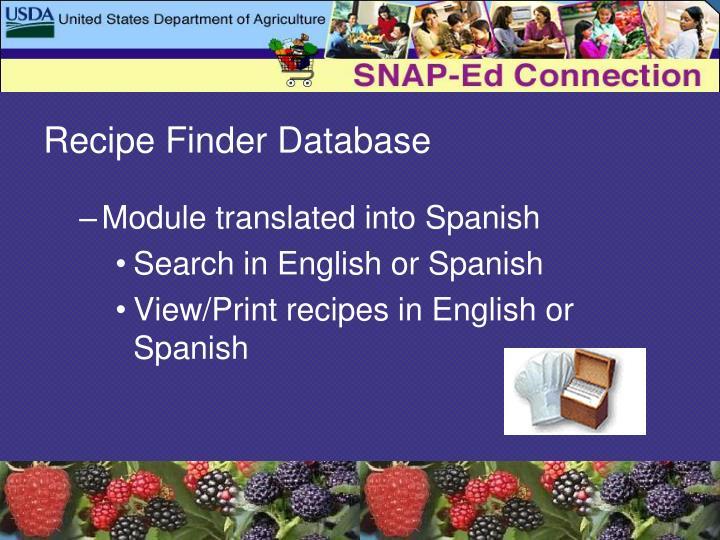 Recipe Finder Database