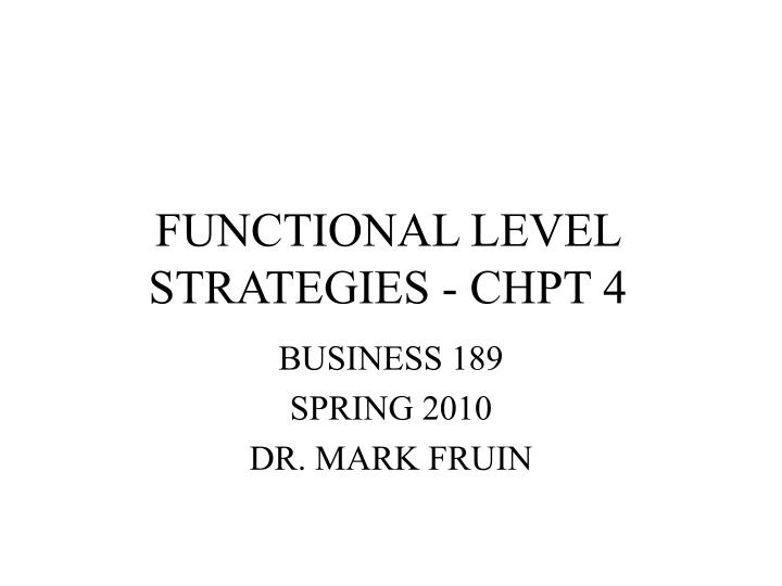 functional level strategies chpt 4 n.