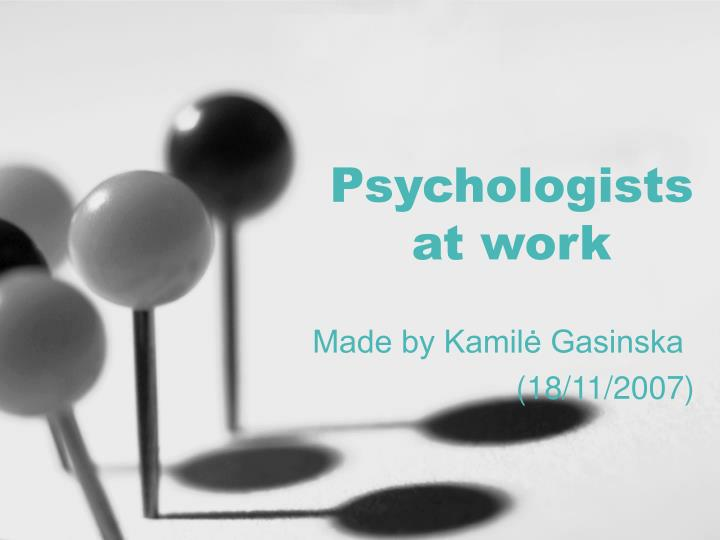 psychologists at work n.