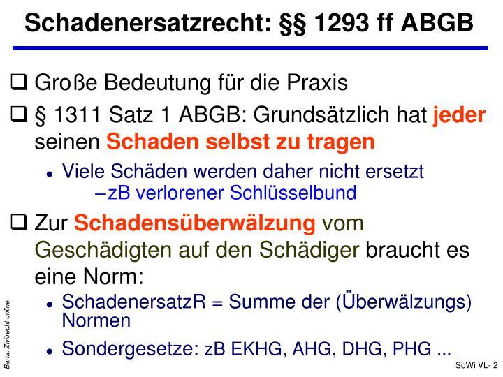 Schadenersatzrecht 1293 ff abgb