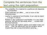 complete the sentences from the text using the right preposition
