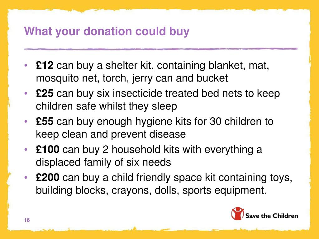 What your donation could buy