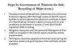 steps by government of pakistan for safe recycling of ships cont36