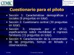 cuestionario para el piloto