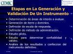 etapas en la generaci n y validaci n de un instrumento