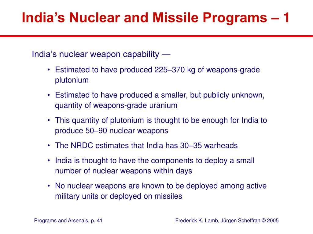 India's Nuclear and Missile Programs – 1