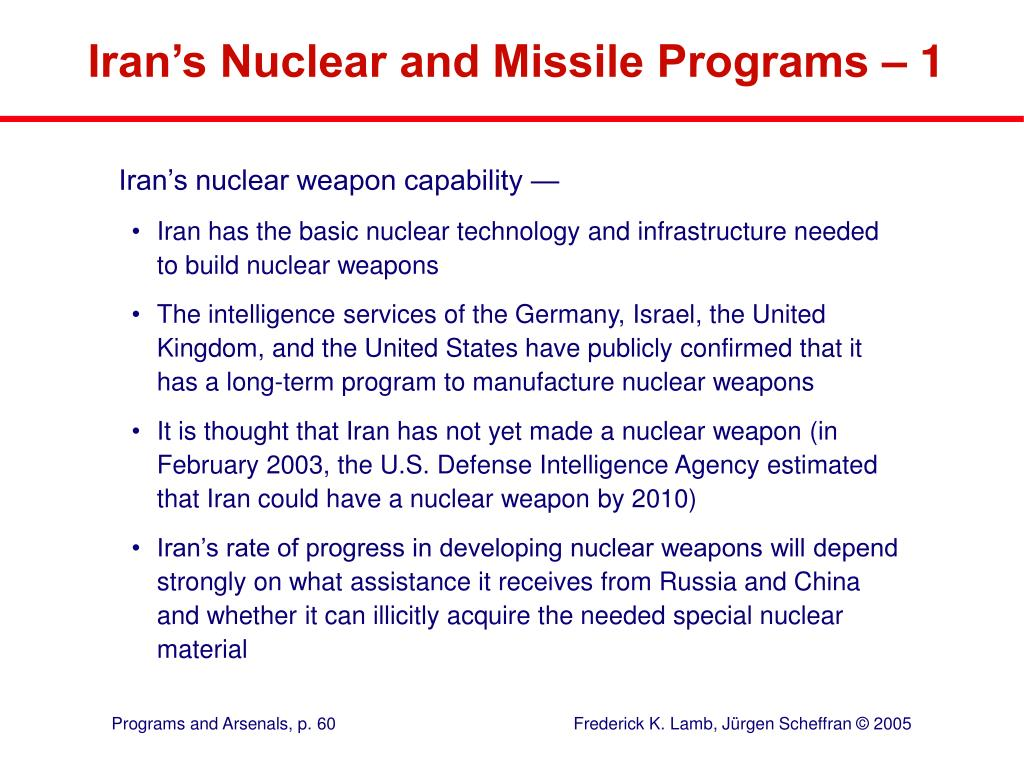 Iran's Nuclear and Missile Programs – 1