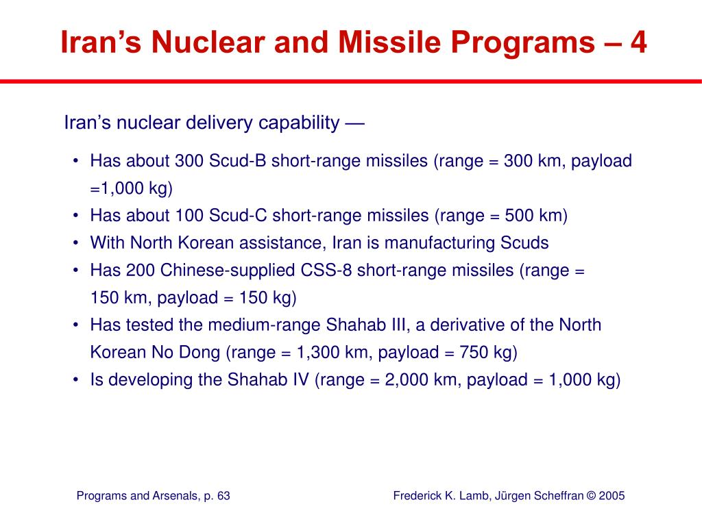 Iran's Nuclear and Missile Programs – 4