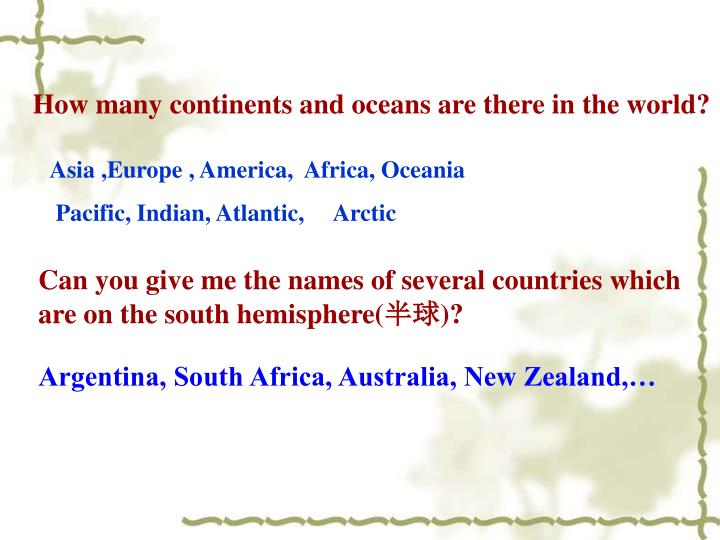 How many continents and oceans are there in the world?