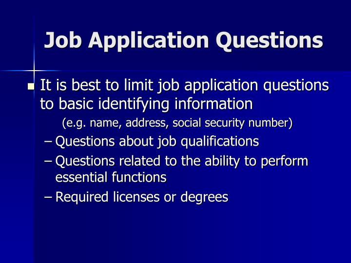 Job Application Questions